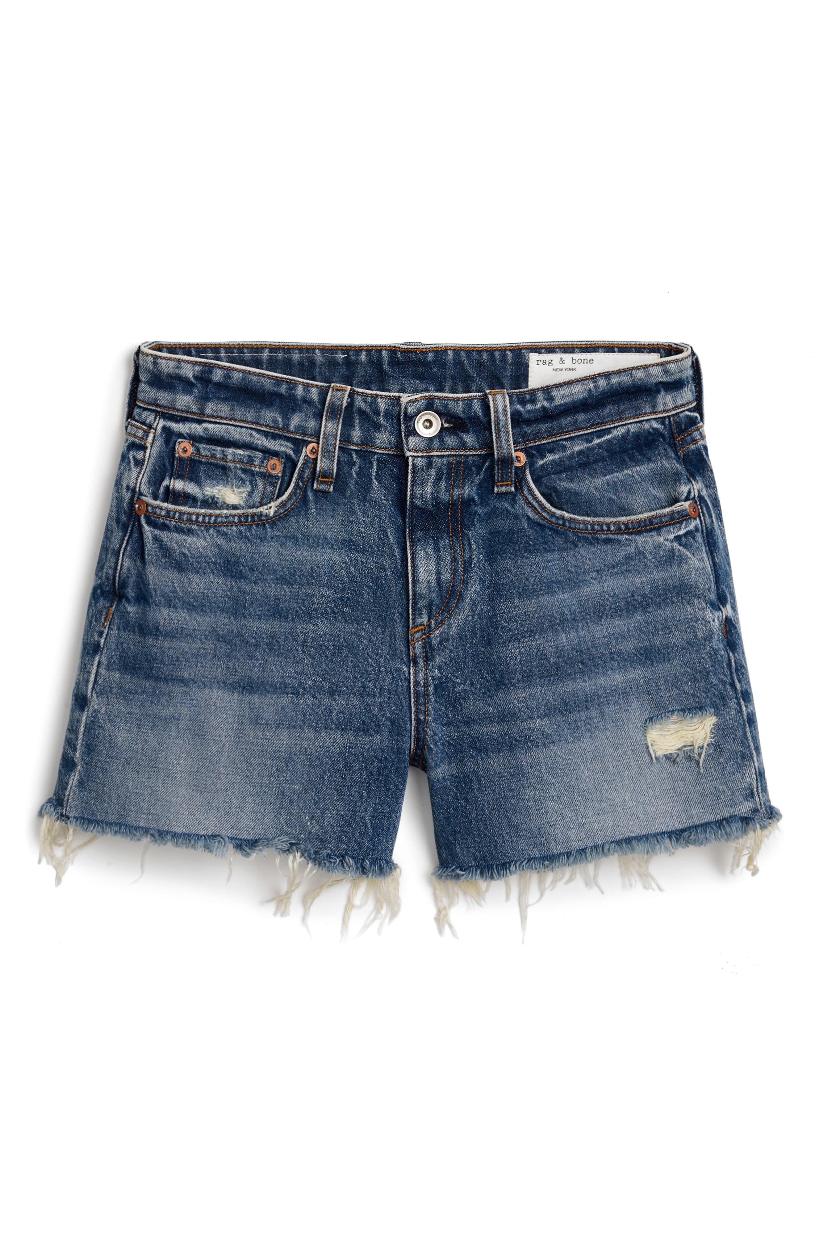 "Men`s Cut Off Denim Shorts Waist Size 28/"" Waist Dark Blue Button Fly"