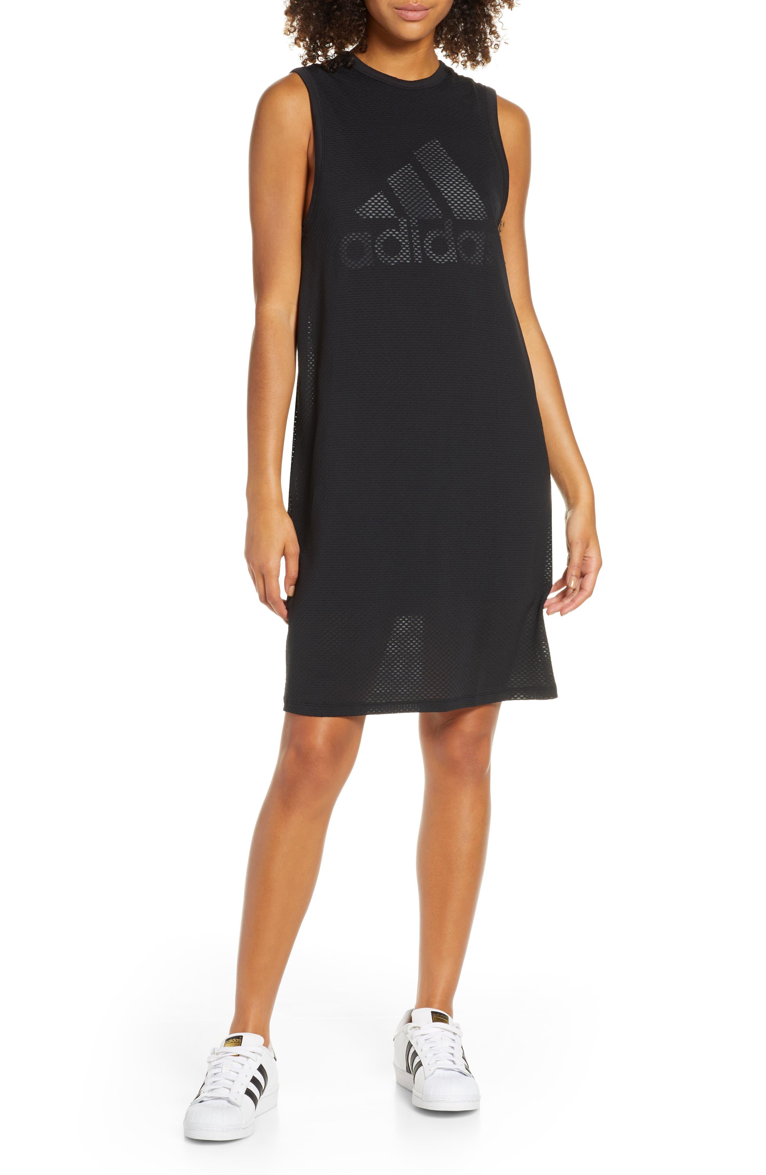 Adidas Logo Mesh & Jersey Tank Dress