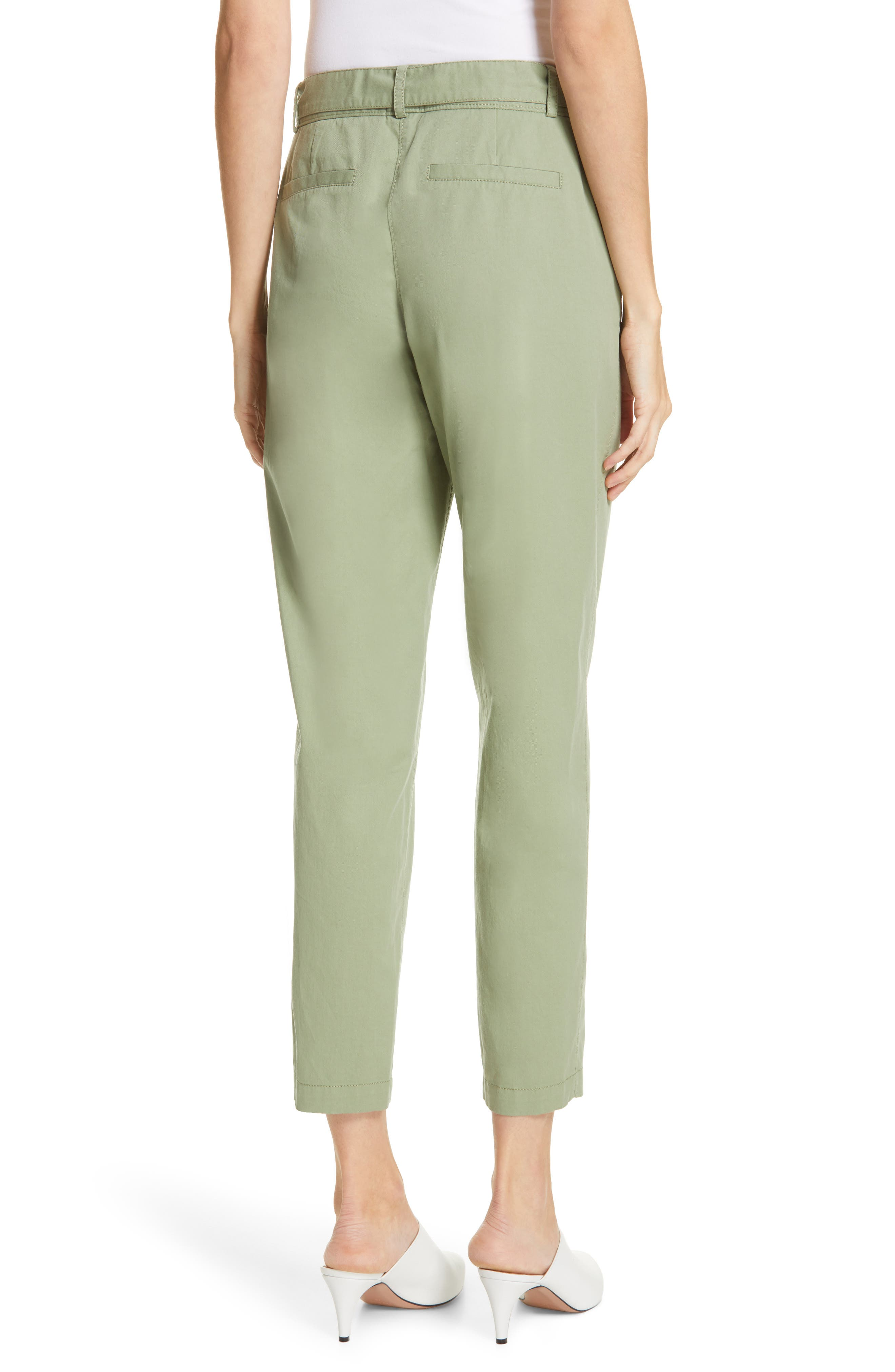 ,                             Center Seam Drawstring Stretch Cotton Pants,                             Alternate thumbnail 2, color,                             GREEN BASIL