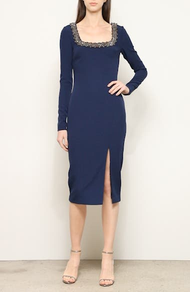 Badgley Mischka Embellished Long Sleeve Sheath Dress, video thumbnail