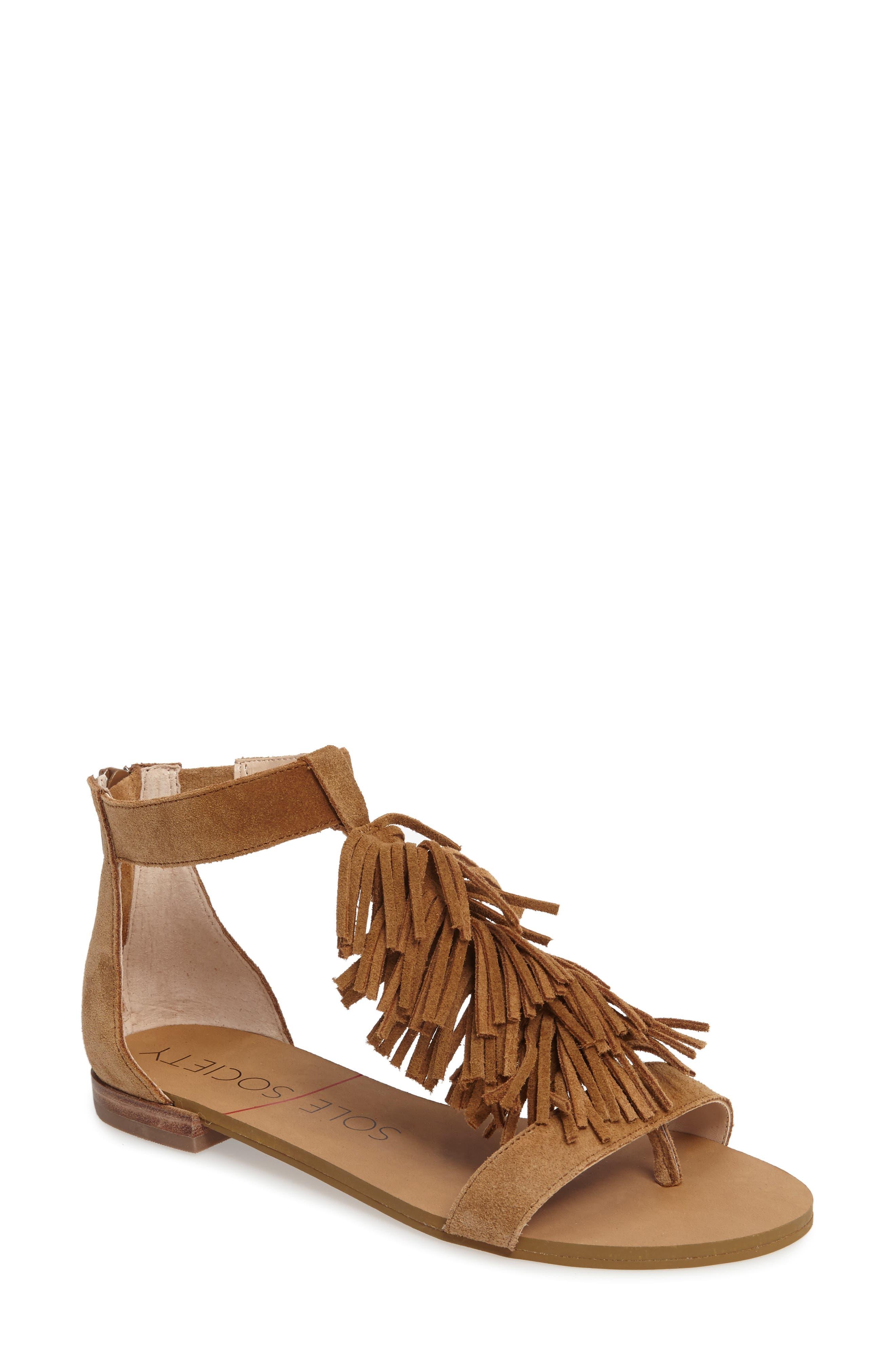 ,                             Koa Fringed T-Strap Sandal,                             Main thumbnail 7, color,                             240