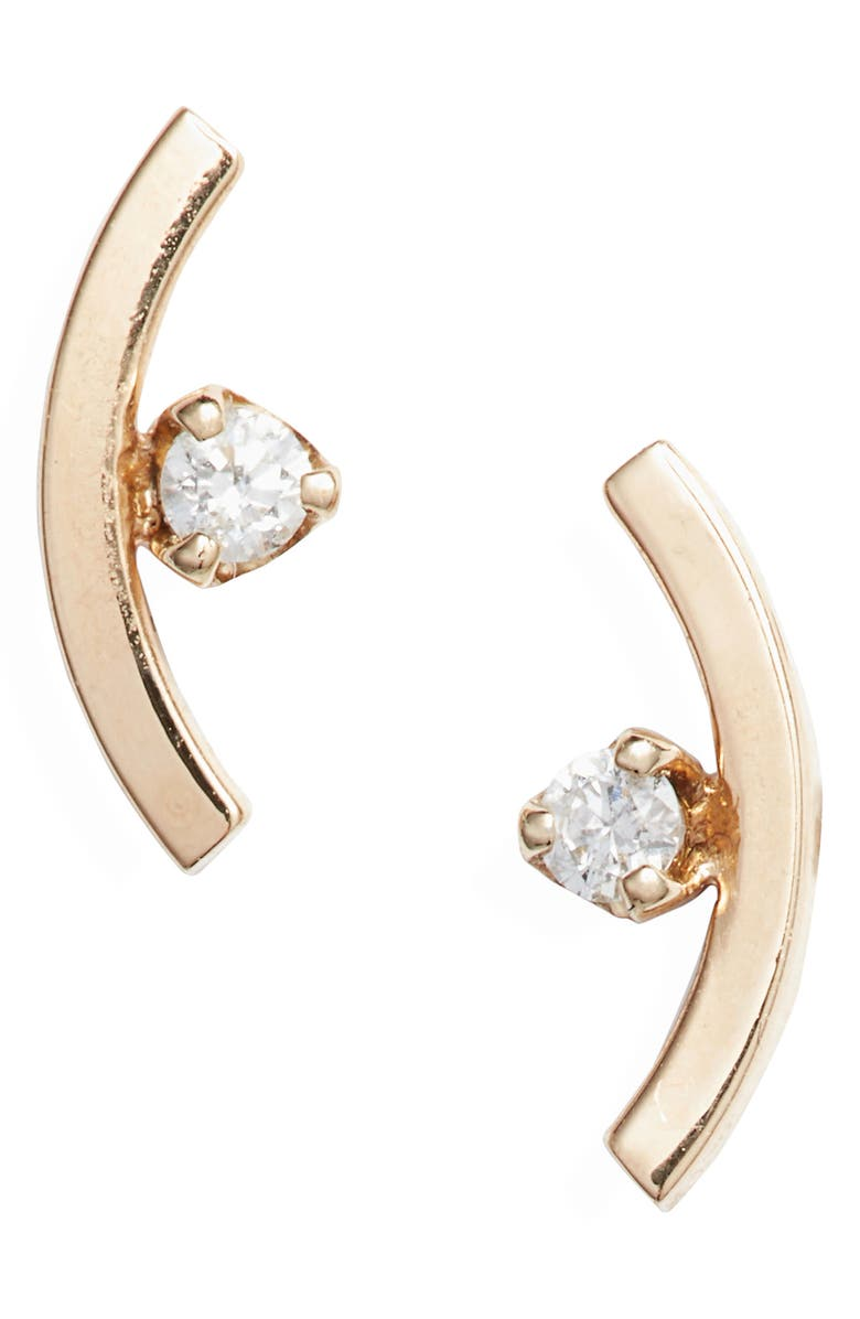 ZOË CHICCO Diamond Curved Bar Stud Earrings, Main, color, YELLOW GOLD
