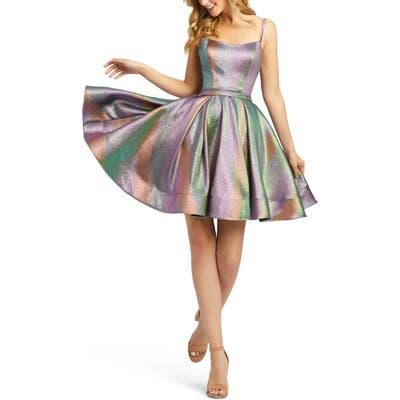 Ieena For MAC Duggal Rainbow Metallic Fit & Flare Party Dress, Purple
