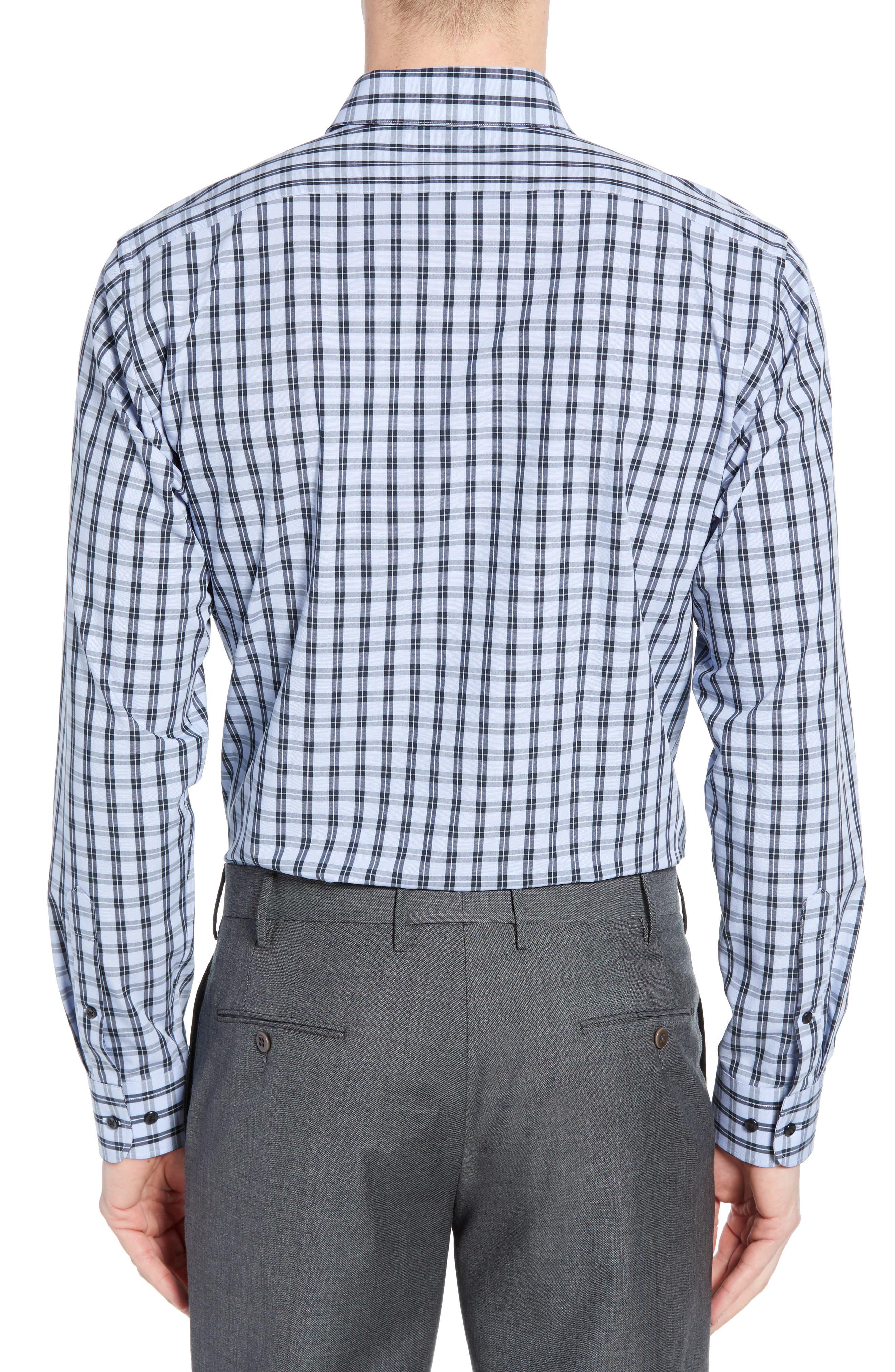 ,                             Tech-Smart Trim Fit Stretch Check Dress Shirt,                             Alternate thumbnail 3, color,                             NAVY DUSK