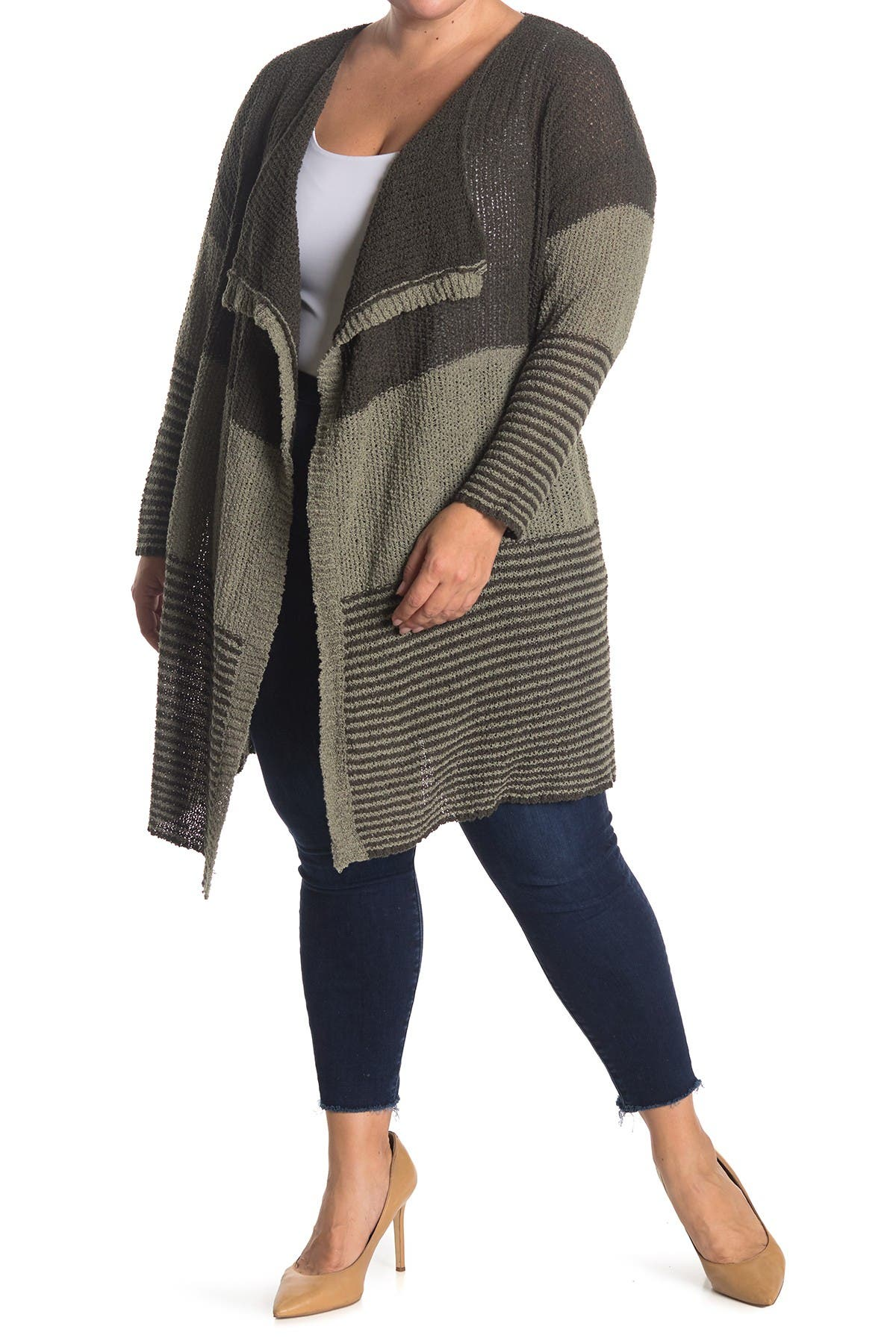 Image of STITCHDROP Colorblock Stripe Flyaway Cardigan