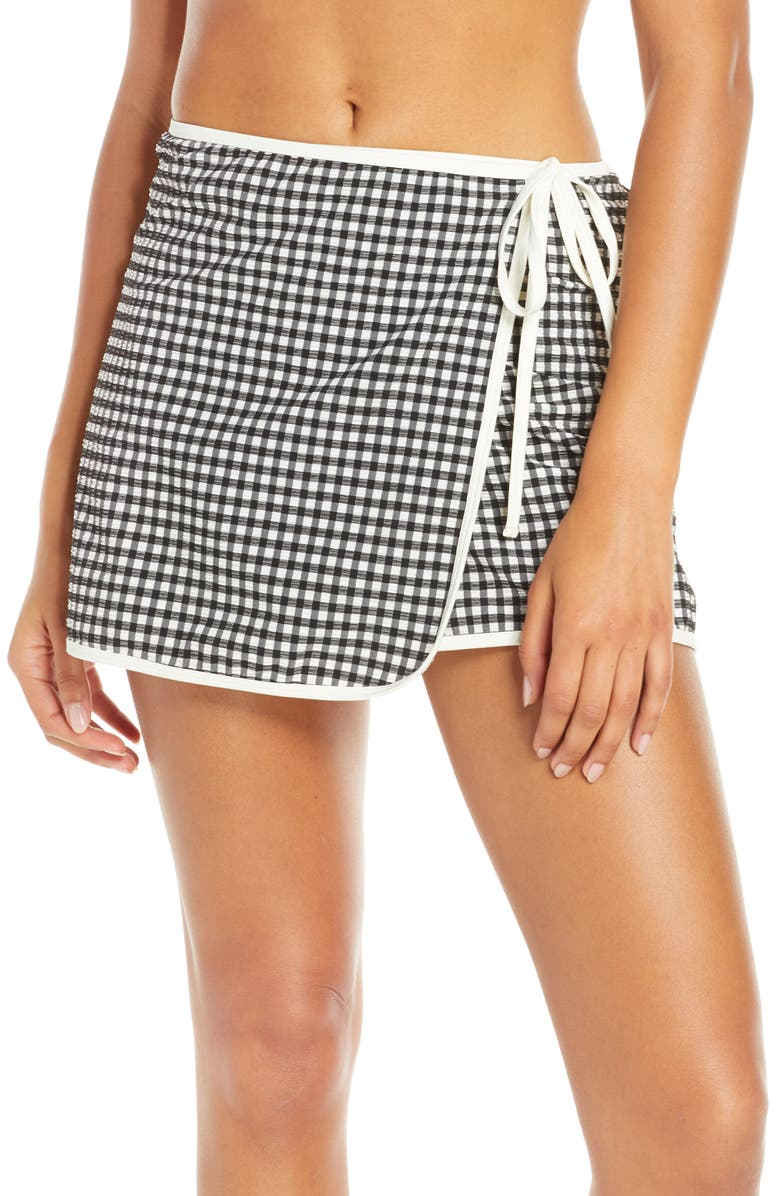 SOLID & STRIPED Gingham The Wrap Cover-Up Skirt, Main, color, 001