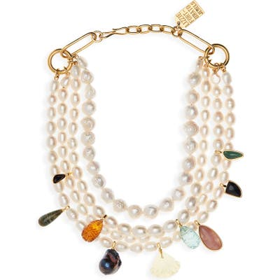 Lizzie Fortunato Multistrand Pearl Necklace