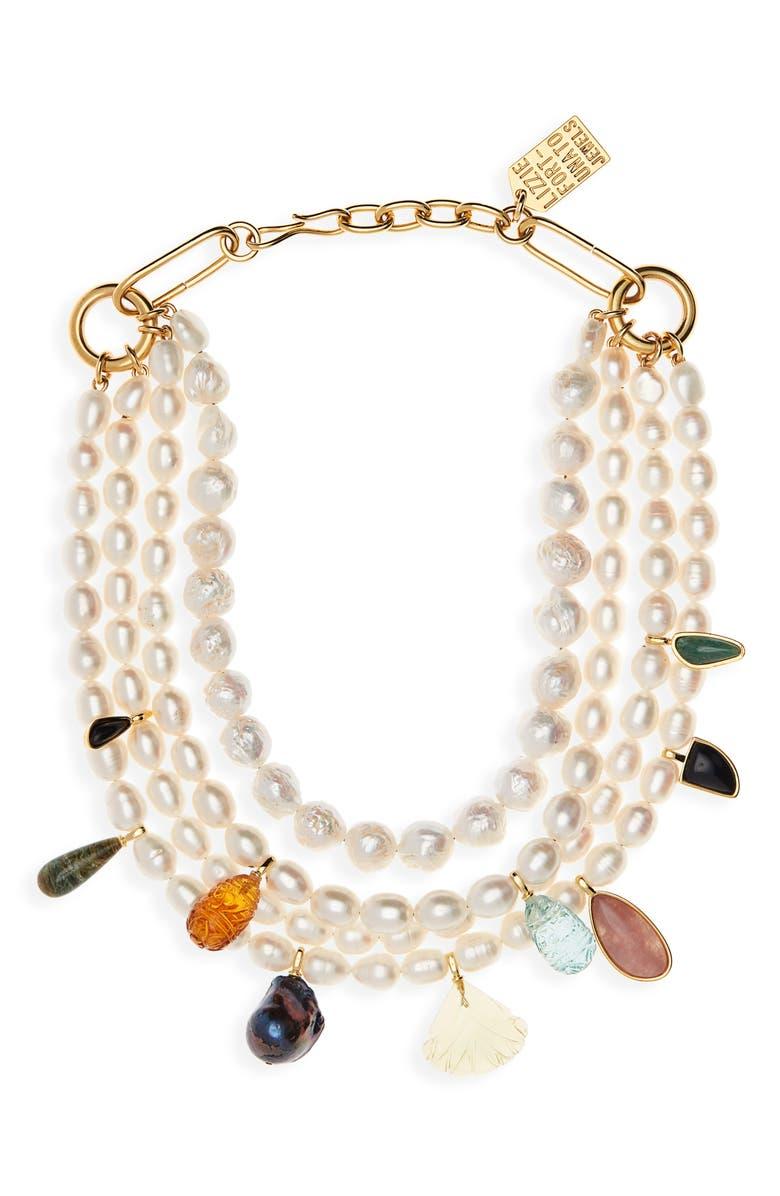 LIZZIE FORTUNATO Multistrand Pearl Necklace, Main, color, PEARL