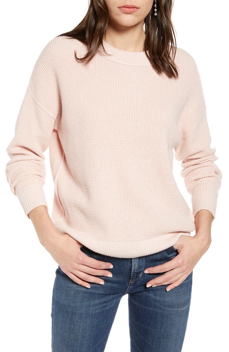 TREASURE & BOND Thermal Stitch Pullover, Main, color, PINK SEPIA