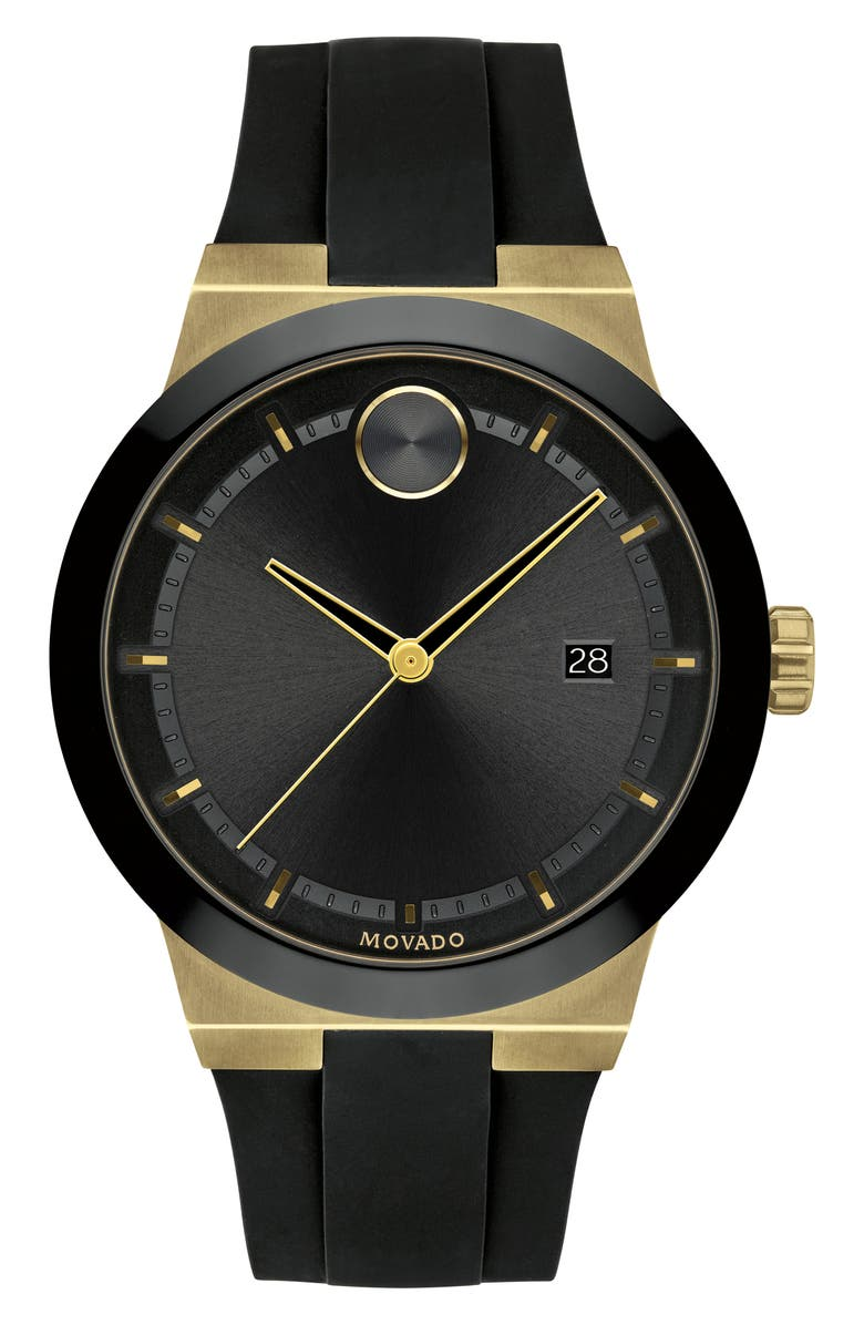 MOVADO Bold Fusion Silicone Strap Watch, 42mm, Main, color, BLACK/ GOLD