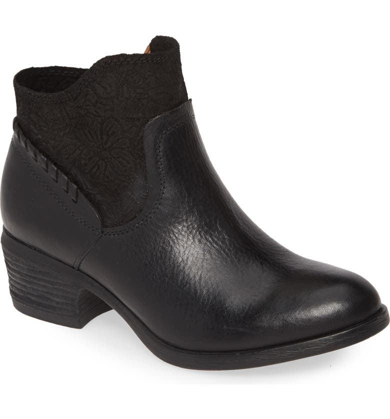 COMFORTIVA Corry Bootie, Main, color, BLACK LEATHER/ SUEDE