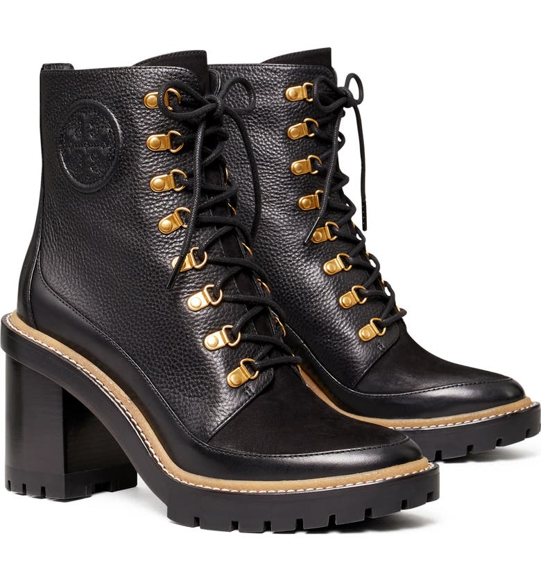TORY BURCH Miller Mixed Materials Lug Sole Boot, Main, color, PERFECT BLACK/ PERFECT BLACK