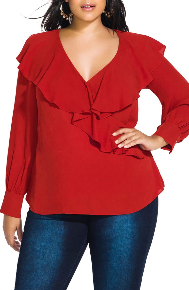 CITY CHIC Ruffle Faux Wrap Top, Main, color, RUST