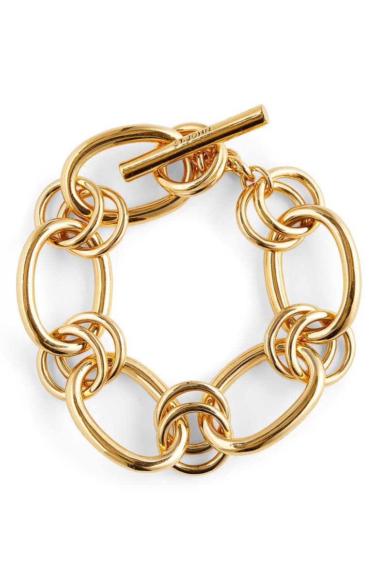 ST. JOHN COLLECTION Toggle Chain Bracelet, Main, color, GOLD