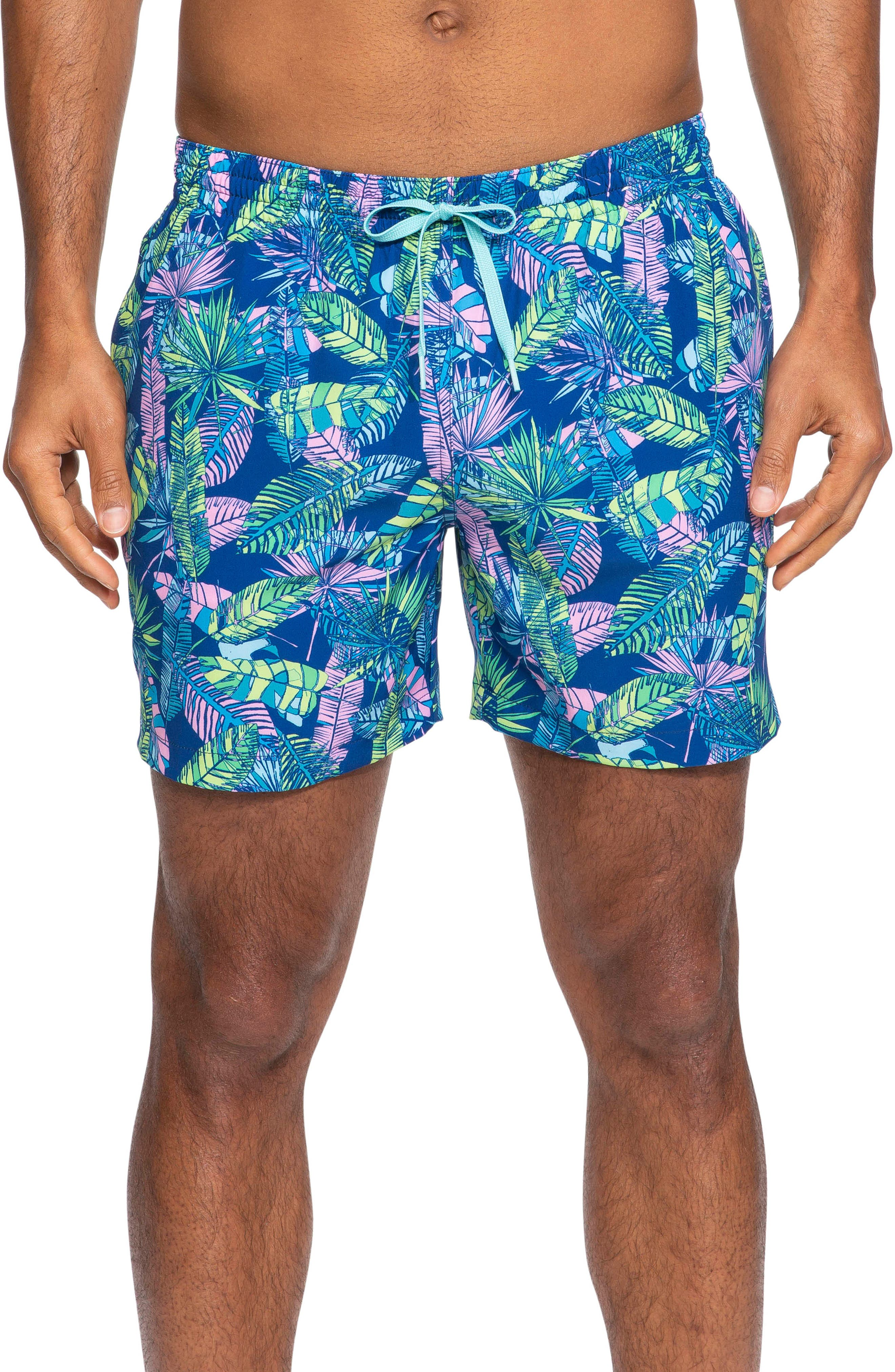 ,                             Leaf of the Parties Print Swim Trunks,                             Main thumbnail 1, color,                             KAUAI WOWIE