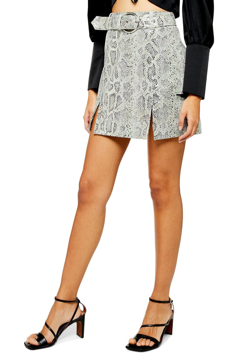 TOPSHOP Snake Print Belted Leather Miniskirt, Main, color, CREAM MULTI