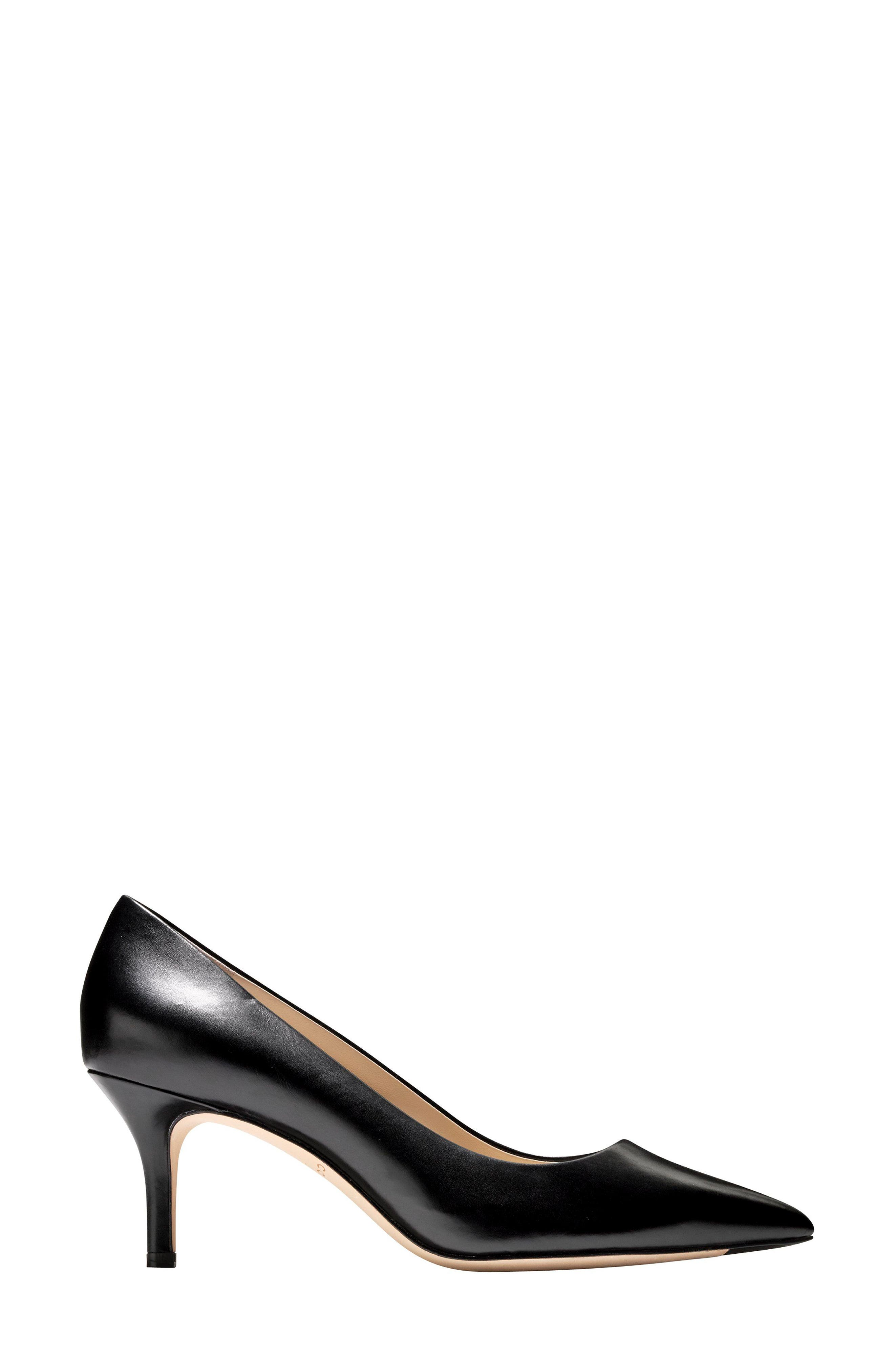 ,                             Vesta Pointy Toe Pump,                             Alternate thumbnail 3, color,                             BLACK LEATHER