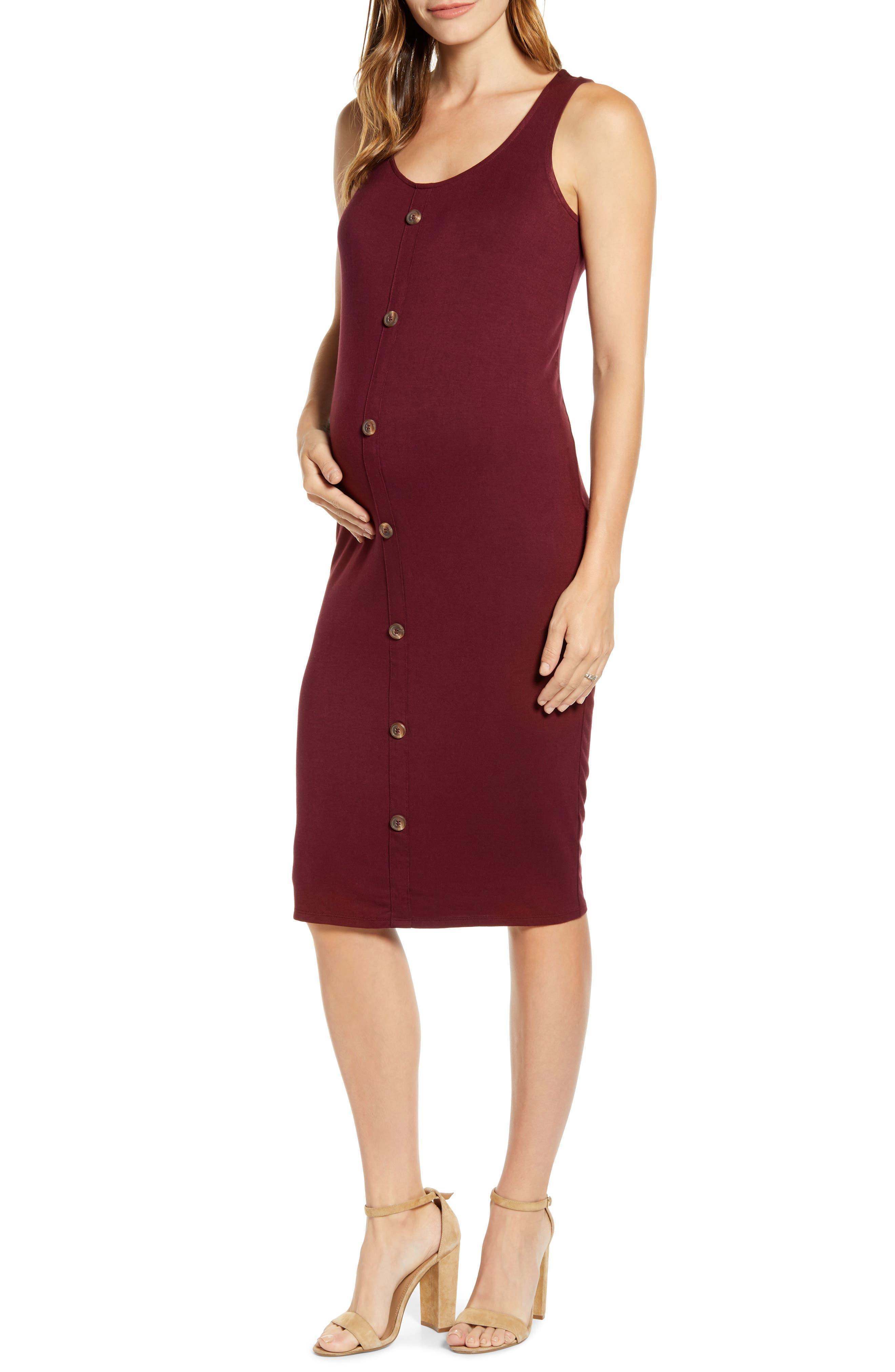 Fourteenth Place Maternity Tank Dress, Burgundy