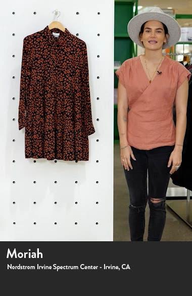 Floral Logo Print Crepe Long Sleeve Shirtdress, sales video thumbnail