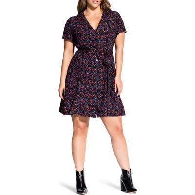 Plus Size City Chic Sweet Ditsy Button Down Dress, Black