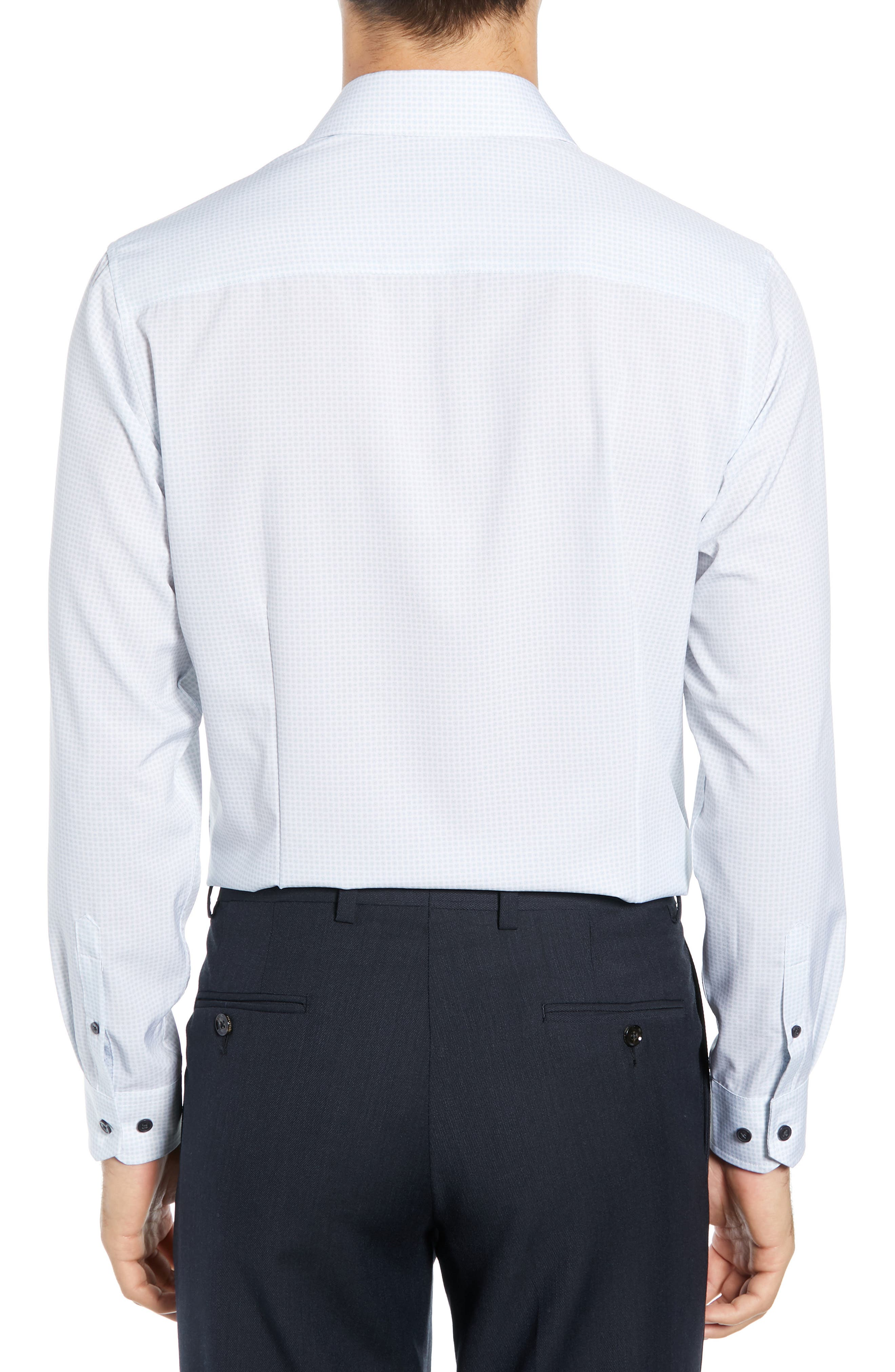 ,                             Slim Fit Performance Stretch Check Dress Shirt,                             Alternate thumbnail 3, color,                             GREY