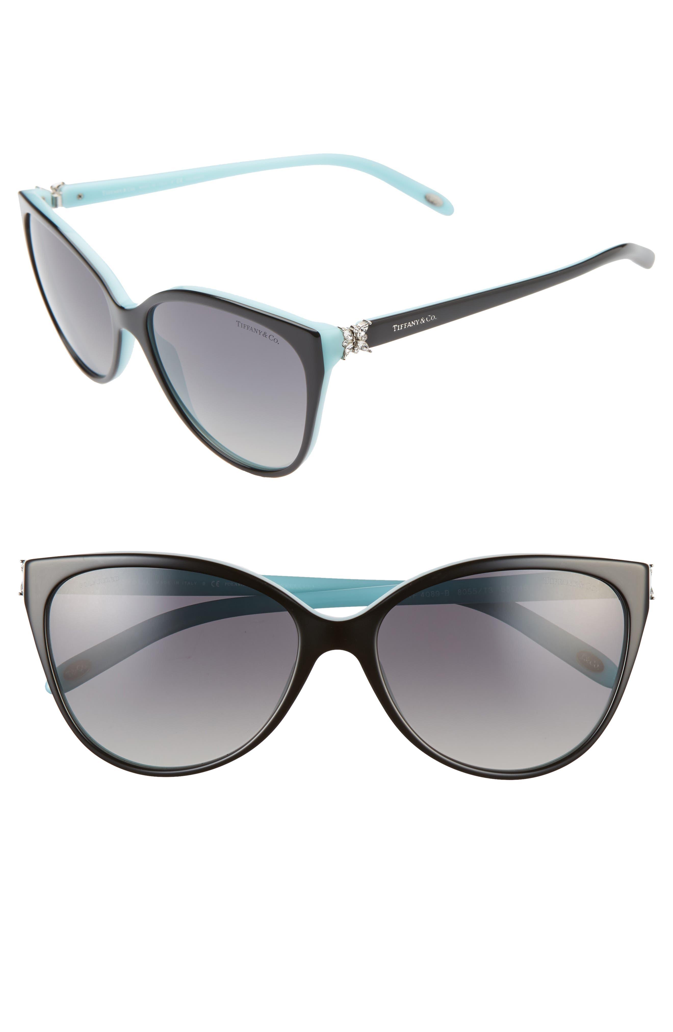 e65085e3bb26 Women's Tiffany & Co. 58Mm Polarized Cat Eye Sunglasses - Black/ Blue/ Black