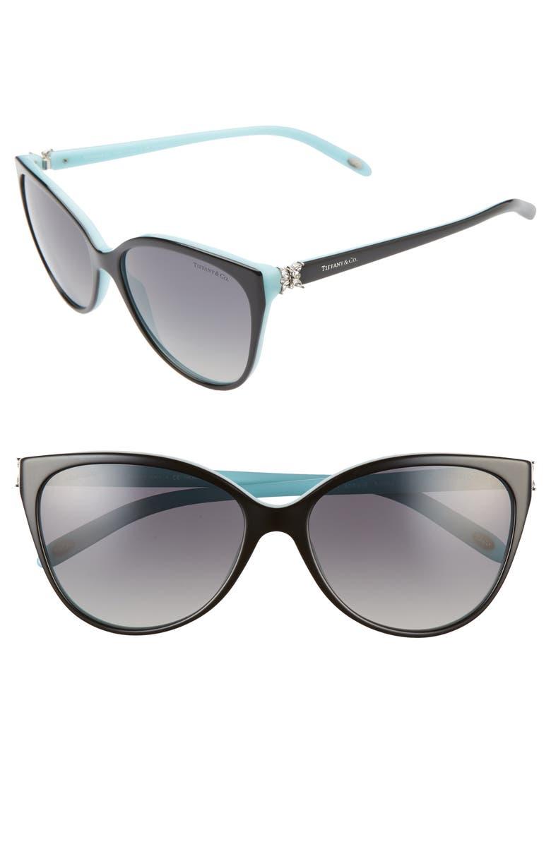 TIFFANY & CO. 58mm Polarized Cat Eye Sunglasses, Main, color, 001