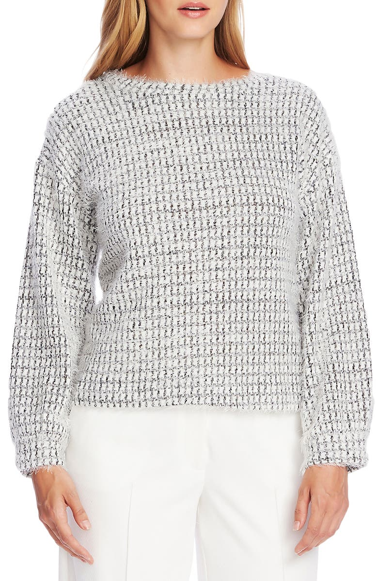 VINCE CAMUTO Houndstooth Sweater, Main, color, RICH BLACK