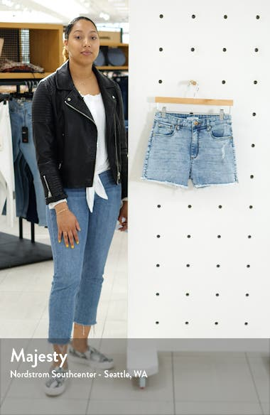 Aubrey Side Slit Distressed Denim Shorts, sales video thumbnail