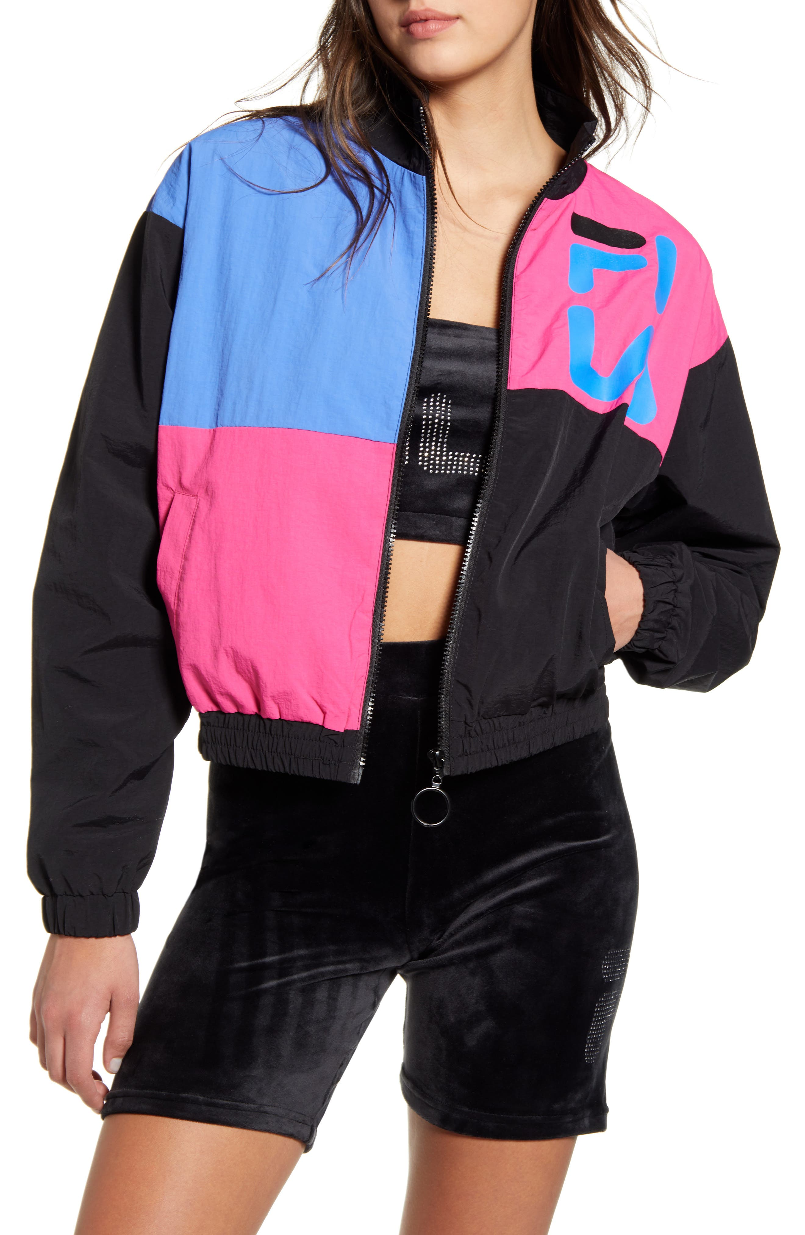 80s Windbreakers, Jackets, Coats Womens Fila Rumi Colorblock Nylon Windbreaker $32.00 AT vintagedancer.com