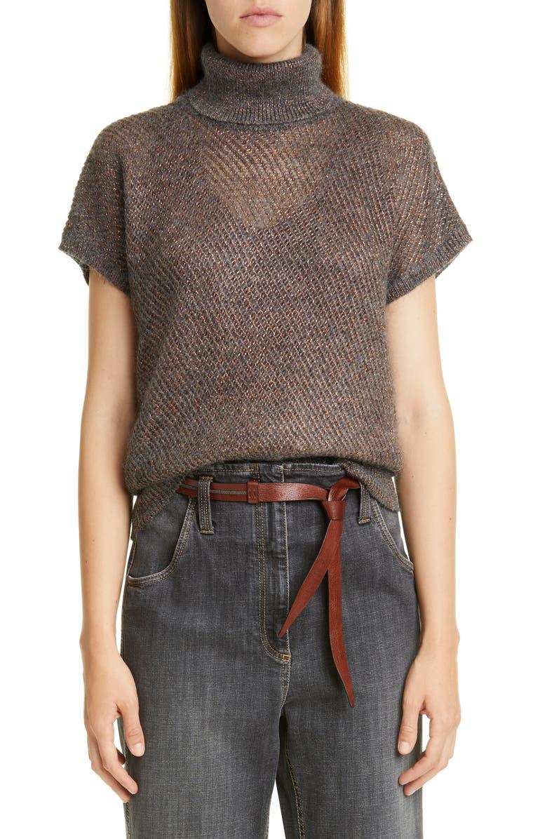 BRUNELLO CUCINELLI Sparkling Mesh Turtleneck Sweater, Main, color, CHARCOAL