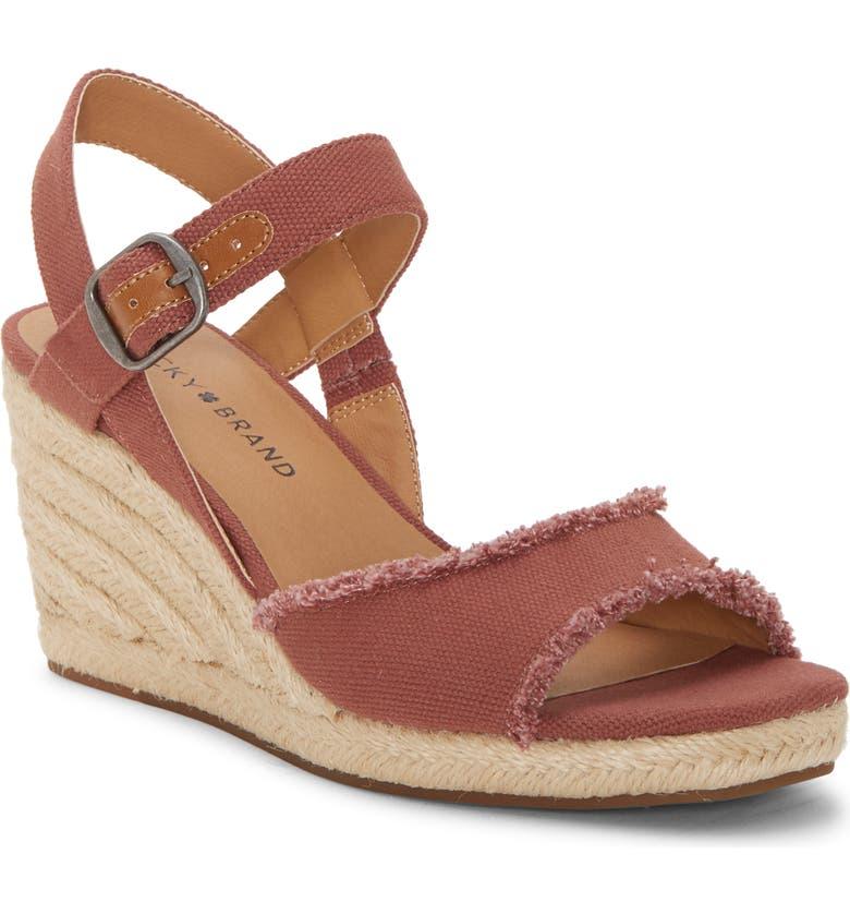 LUCKY BRAND Mindra Espadrille Wedge Sandal, Main, color, MAUVE FABRIC