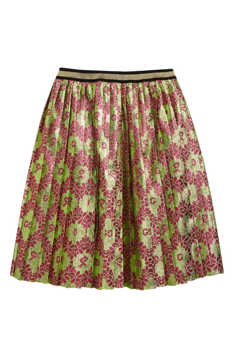 GUCCI Pleated Logo Jacquard Skirt, Main, color, GREEN/ PINK