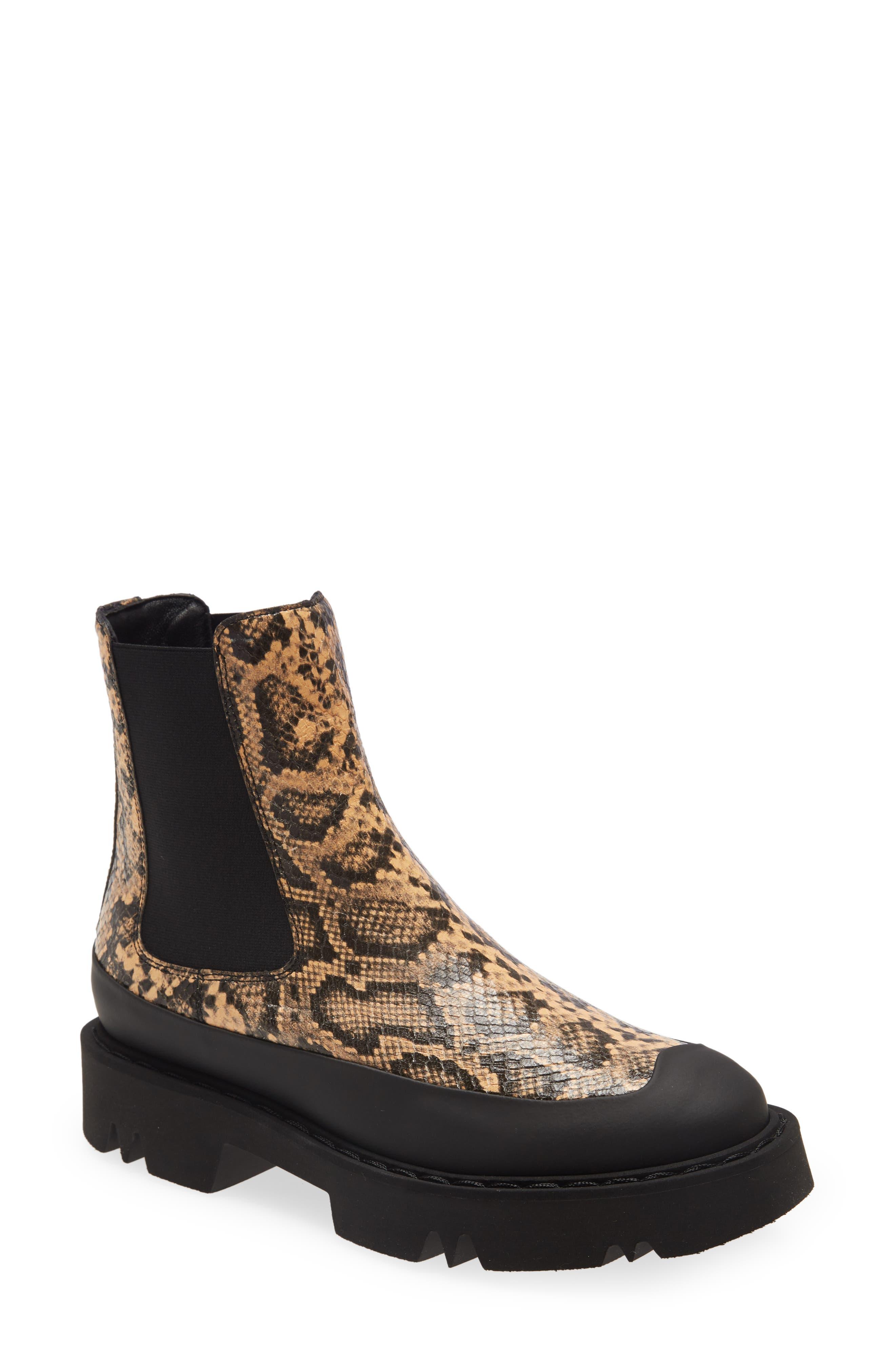Holly Snakeskin Embossed Waterproof Boot