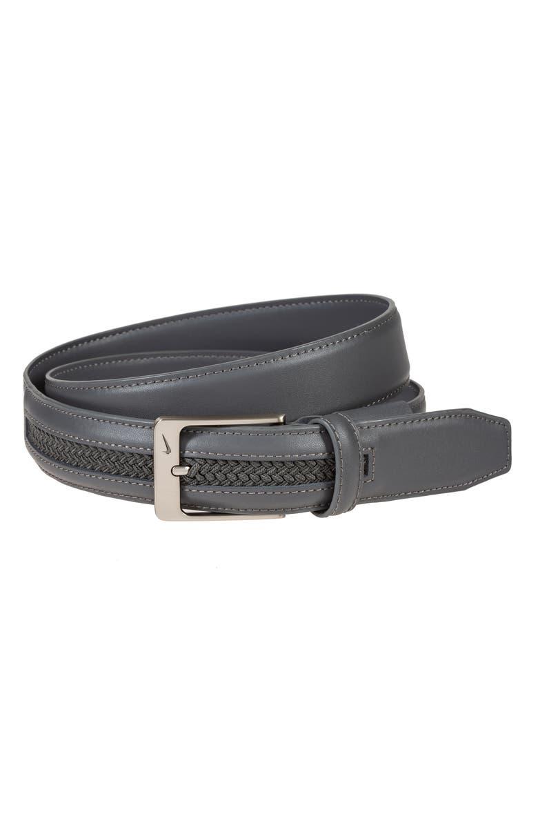 NIKE G-Flex Woven Leather Belt, Main, color, DK GREY