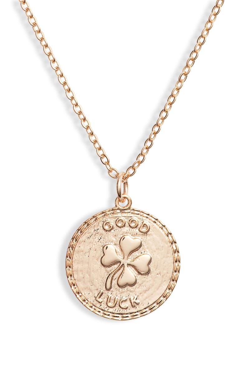 TEN79LA Good Luck Disc Charm Necklace, Main, color, GOLD