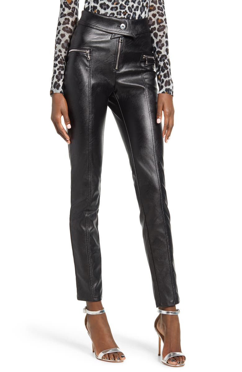 TIGER MIST Highlight Faux Leather Pants, Main, color, BLACK