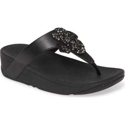 Fitflop Lottie Crystal Flower Wedge Flip Flop, Black