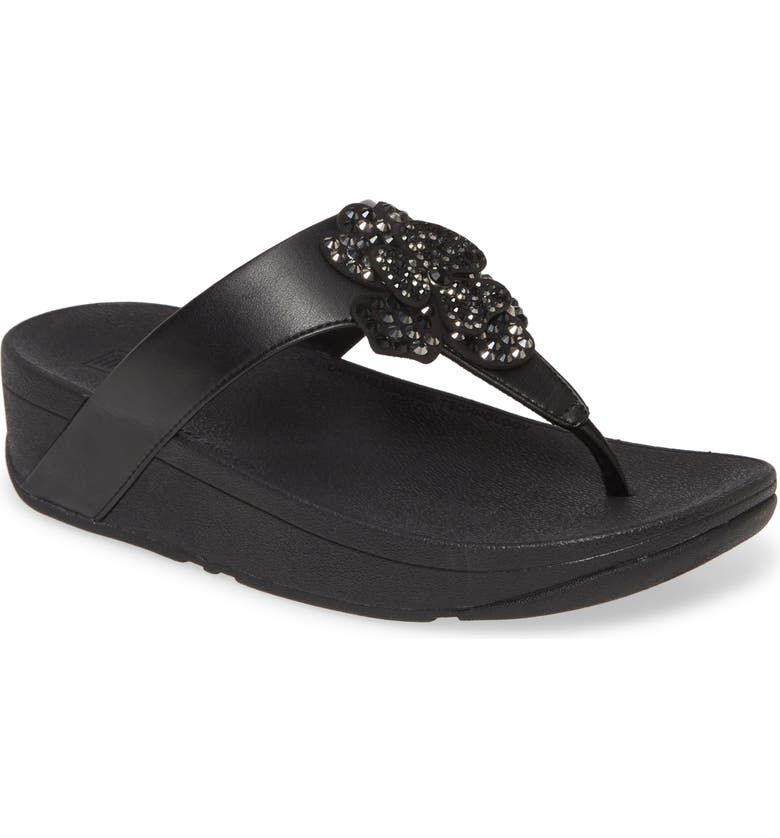 FITFLOP Lottie Crystal Flower Wedge Flip Flop, Main, color, ALL BLACK FAUX LEATHER