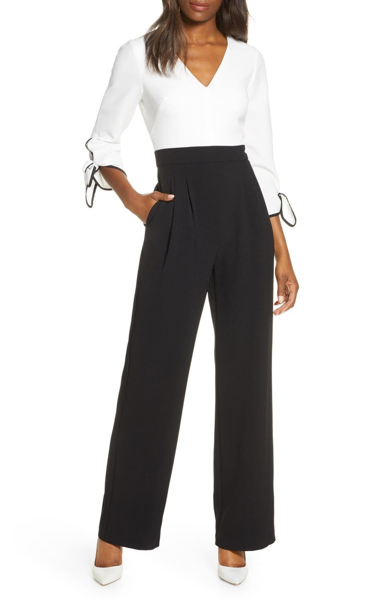 HARPER ROSE Colorblock Tie Sleeve Jumpsuit, Main, color, BLACK
