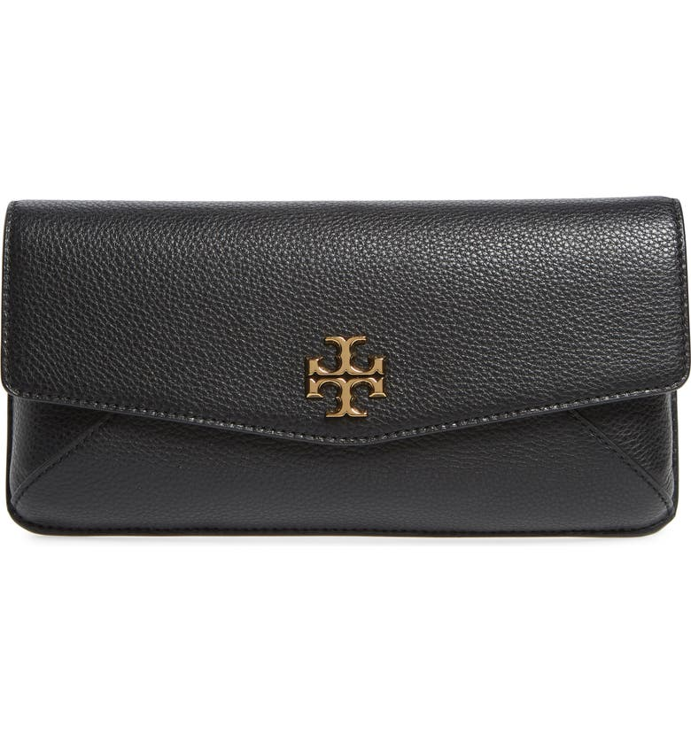 TORY BURCH Kira Leather Clutch, Main, color, BLACK