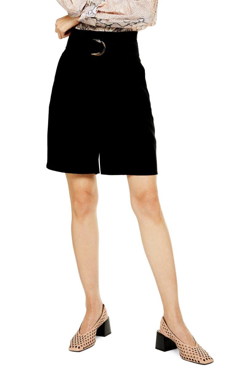 TOPSHOP Belted City Shorts, Main, color, BLACK