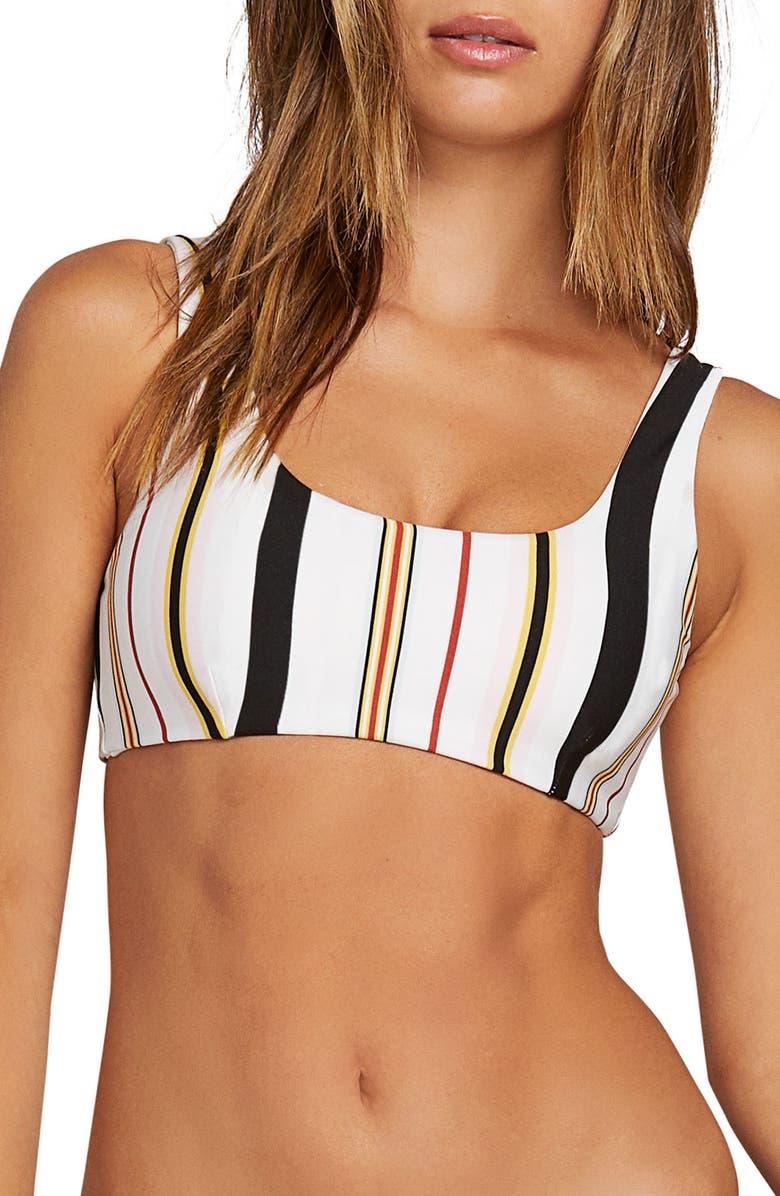 VOLCOM That Stripe Scoop Bikini Top, Main, color, 100