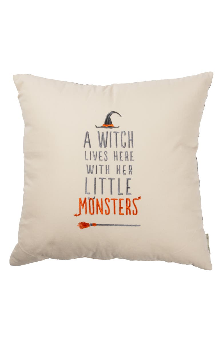 PRIMITIVES BY KATHY A Witch Lives Here Accent Pillow, Main, color, IVORY