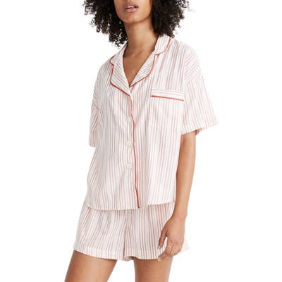 Madewell Shimmer Stripe Oversize Pajama Shirt, Pink