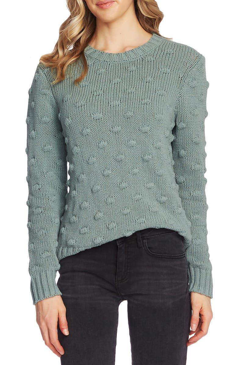 VINCE CAMUTO Cotton Popcorn Sweater, Main, color, EUCALYPTUS