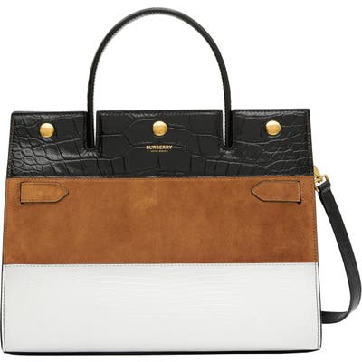 Burberry Small Title Mixed Leather Stripe Bag - White