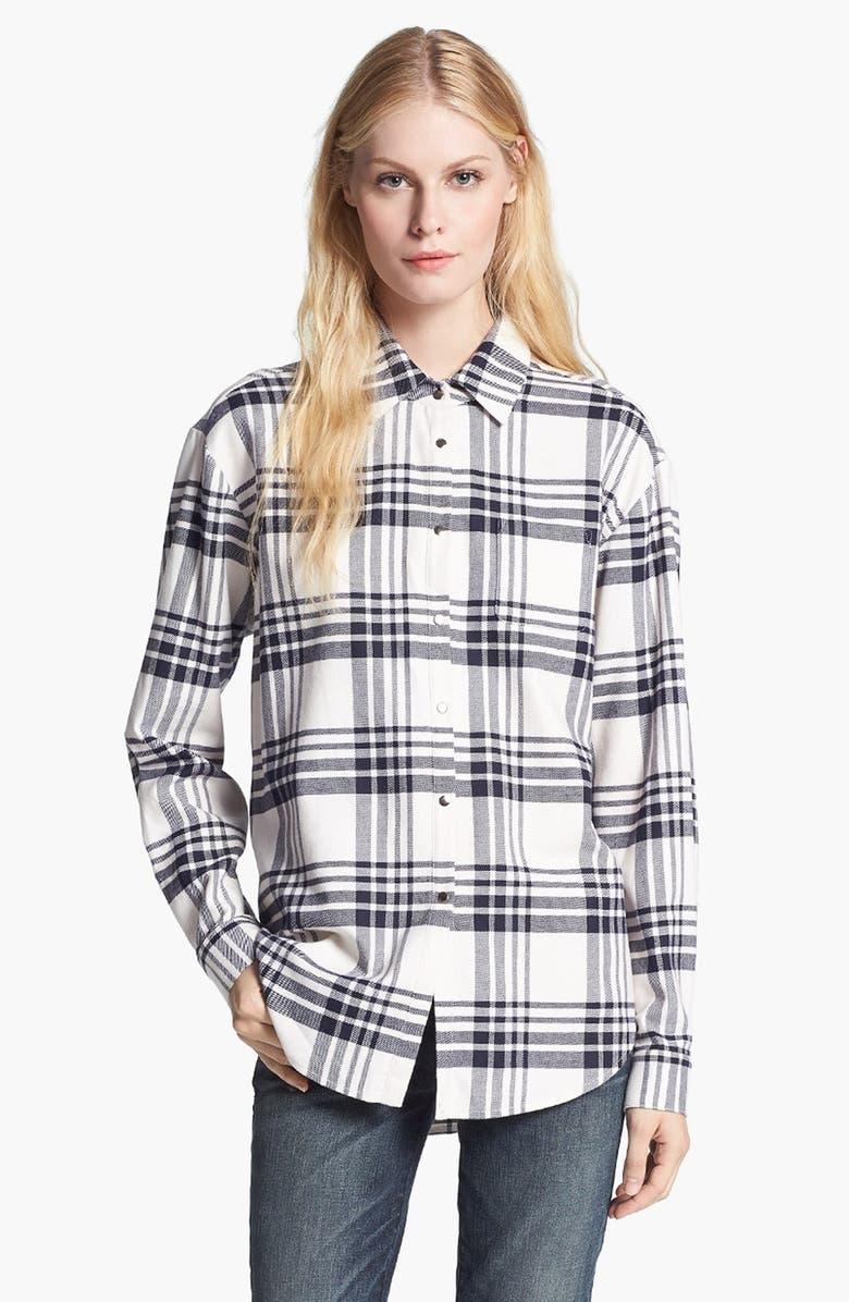 ELIZABETH AND JAMES 'Pam' Plaid Flannel Shirt, Main, color, 110