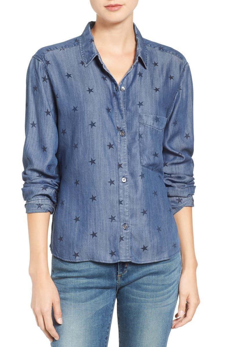 RAILS Dana Star Print Chambray Shirt, Main, color, 468