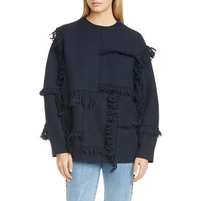 Stella Mccartney Patchwork Fringe Wool Sweater, US / 46 IT - Blue
